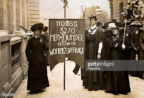 Women suffragettes from Dundee Scotland demonstrate in London circa 1915 This photograph was taken by Christina Broom aka Mrs Albert Broom