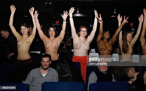 Women supporting the film attend Free The Nipple New York Premiere at IFC Center on December 11 2014 in New York City