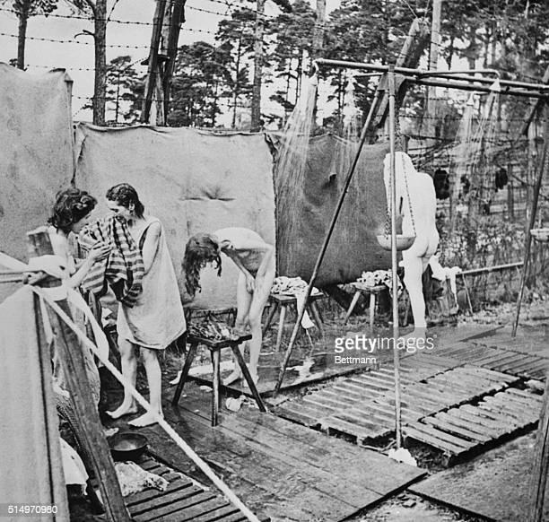 Women Survivors Showering at Belsen