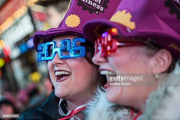Women take a selfie to celebrate ringing in the new year in Times Square on January 1 2016 in New York City The New York City Police Department...