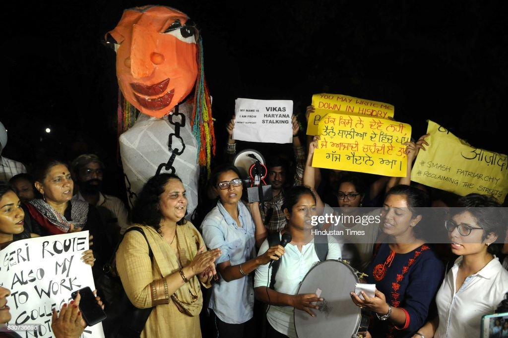 Women take out a protest 'Bekhauf Azadi March' late in the night to drive home the message they were 'free to move around at any time', aftermath of Varnika Kundu's stalking by Haryana state BJP chief Subhash Barala's son, on August 11, 2017 in Chandigarh, India.