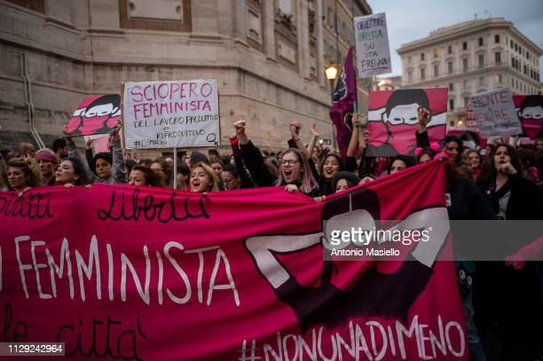 Women take part in a demonstration organized by 'Non una di meno' movement to mark the International Women's Day on March 8 2019 in Rome Italy