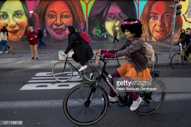 Women take part in a feminist bicycle protest during International Women's Day on March 08 2020 in Madrid Spain Spain celebrates International...