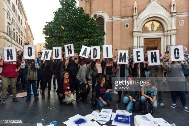 Women take part in a march organised by 'Non Una Di Meno' movement in San Lorenzo neighbourhood of Rome, Italy, on October 26 a week after a female...
