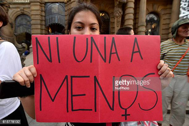 Women take part in a protest in Sao Paulo Brazil where protesters held a onehour 'women's strike' on October 19 to protest against violence against...