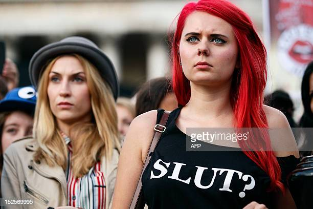 Women take part in a 'slut walk' in London on September 22 2012 to protest against the police and courts' denial of justice for rape victims AFP...