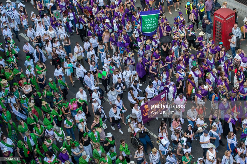 100 years of votes for women were celebrated in mass processions around the UK, marking the centenary of the Representation of the People Act