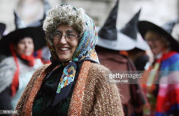 Women take part in the annual Befana parade in Viterbo 05 January 2008 on Epiphany Eve In Italy Epiphany is celebrated with the tradition of La...