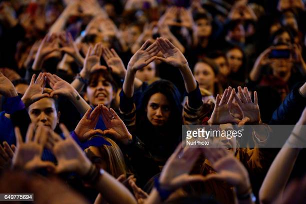 Women take to the streets of Madrid to protest and defend their rights in the International Women's Day in 8th March 2017