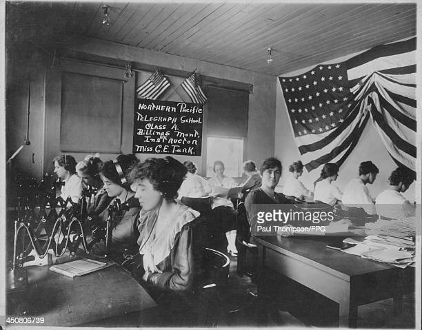 Women taking a telegraph course sponsored by Northern Pacific Railway during World War One circa 19141918