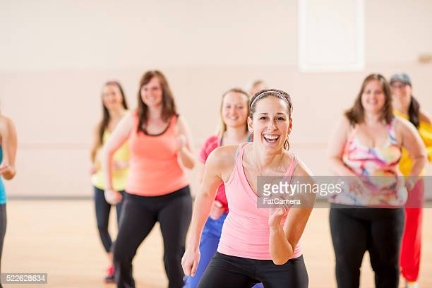 Women Taking an Aerobic Dance Class