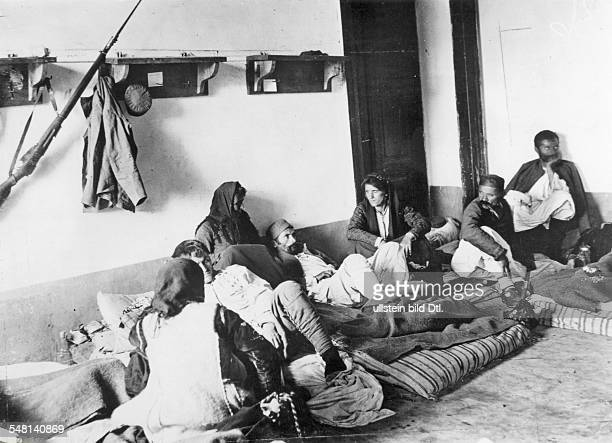 Women taking care of the wounded in a hospital in Podgorica Montenegro October/November 1912