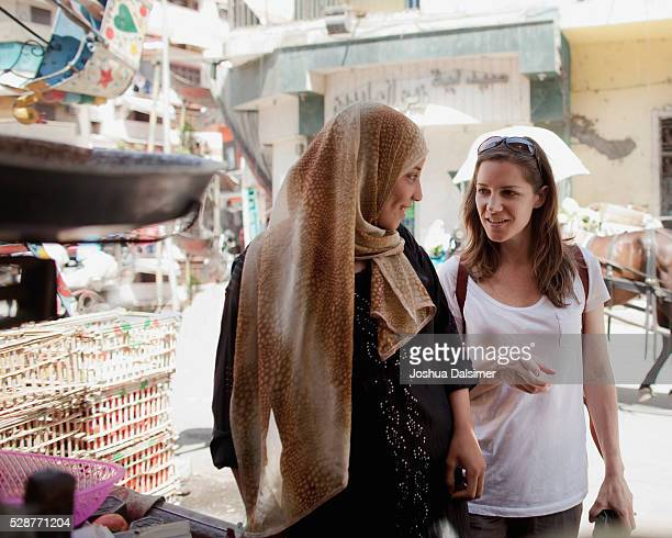 Women talking in a market