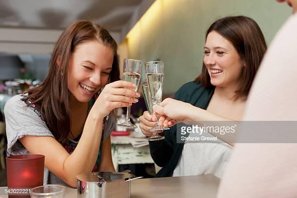 women toasting with champagne in cafe - stefanie grewel stock-fotos und bilder