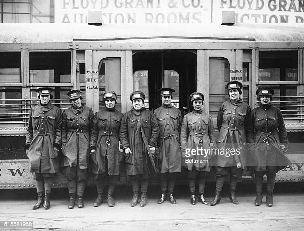 Women trolley conductors, World War I. Undated Photograph.