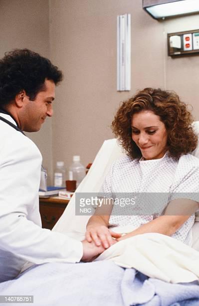 ST ELSEWHERE Women Unchained Episode 20 Pictured Howie Mandel as Dr Wayne Fiscus Ellen Bry as Nurse Shirley Daniels Photo by Ron Batzdorff/NBCU Photo...