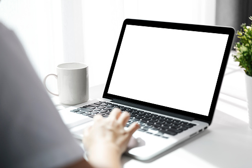 Women using laptop with blank screen at table in the office, Back view of business women hands busy using laptop at office desk. 1155385511