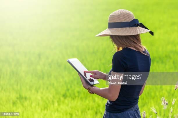 women using tablet in rice fields in Asia