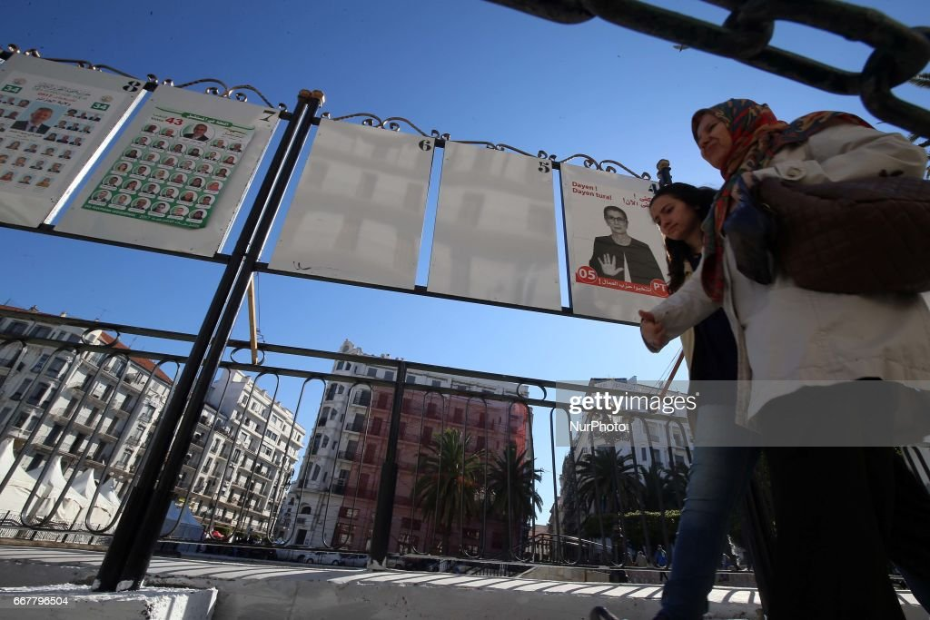 Campaign election posters in Algeria : News Photo