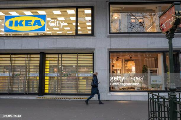 Women walk in front of Ikea City store at Madeleine, on March 22, 2021 in Paris, France. The trial of the French subsidiary of Ikea, accused in 2012...