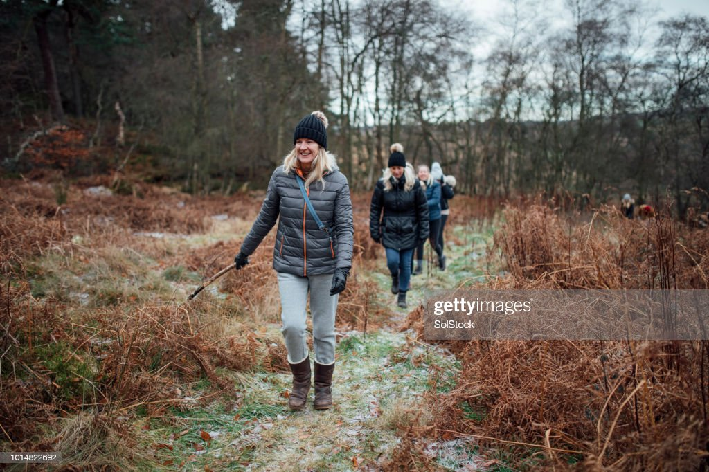 Women Walking in the Winter : Stock Photo