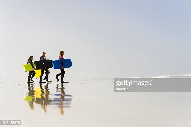 Women Walking On The Beach With Their Bodyboards