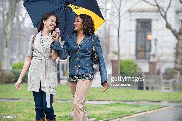 Women walking under umbrella