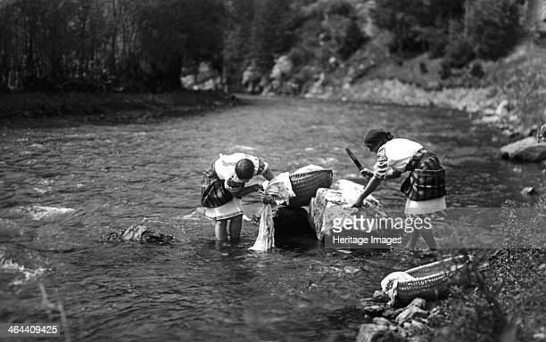 Women washing their laundry in a river Bistrita Valley Moldavia northeast Romania c1920c1945 Depicting customs and traditional labour in the rural...
