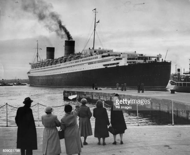 Women wave farewell as the Cunard liner Queen Elizabeth sails from Southampton for New York On board is the Queen Mother who is to make a month's...