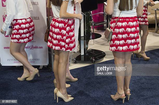 Women wear skirts with elephants the symbol of the Republican party during the annual Conservative Political Action Conference 2016 at National...