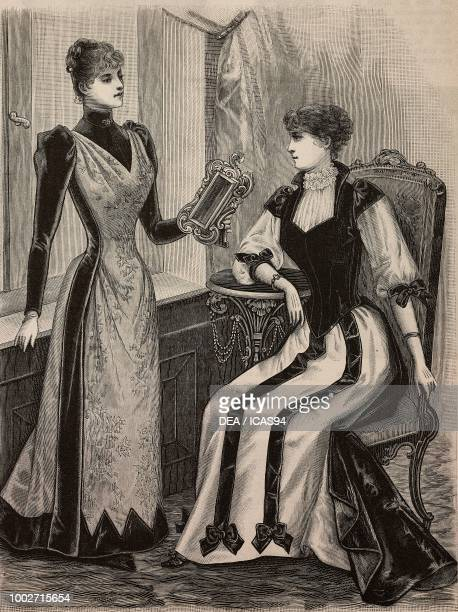 Women wearing a bengalinevelours dress and a crepe de Chinevelours dress creations by Madame Gradoz engraving from La Mode Illustree n 6 February 7...