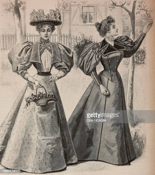 Women wearing a chine silk dress and an autumn drap dress creations by Madame Gradoz engraving from La Mode Illustree n 36 September 8 Paris