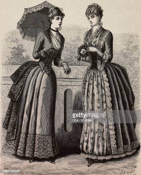 Women wearing a cloth and woolen lace dress a dress in floral and plain foulard designs by Madame Delaunay engraving from La Mode Illustree No 30...