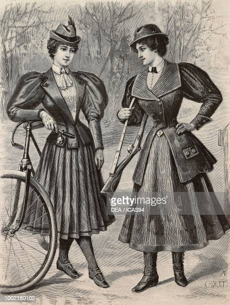 Women wearing a cycling outfit and a huntingsport outfit creations by the Magasins du Louvre engraving from La Mode Illustree n 3 January 19 Paris