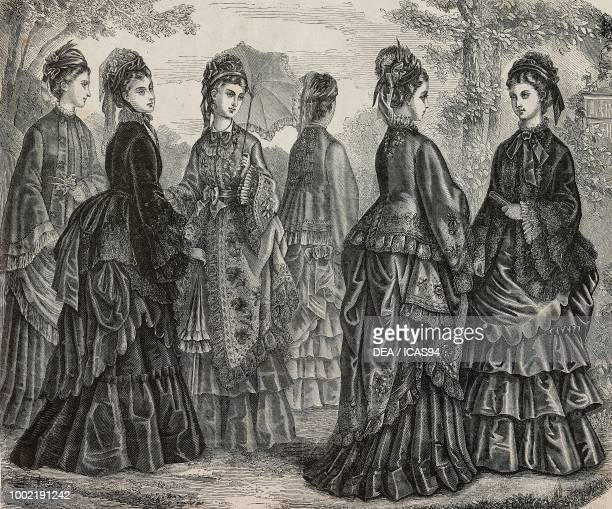 Women wearing a dolman and faye and crepe de chine coats and suits by Madame Fladry France engraving from La Mode Illustree No 23 June 8 1873