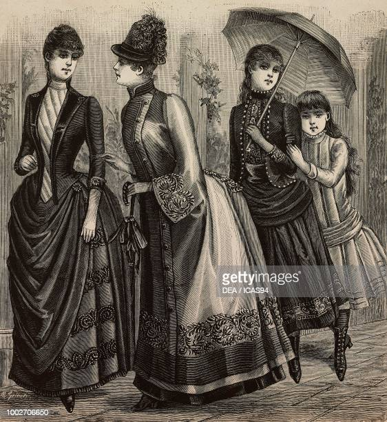 Women wearing a dress in Sicilienne a woolen dress with embroidery a dress for a 1314 yearold girl a dress for an 810 yearold girl engraving from La...