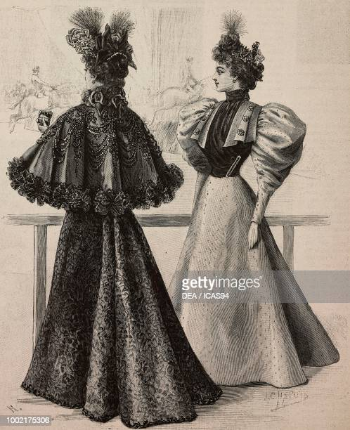 Women wearing a silk cape with jais and lace and a taffeta chine dress creations by Madame Vincent creations by Madame Vincent engraving from La Mode...
