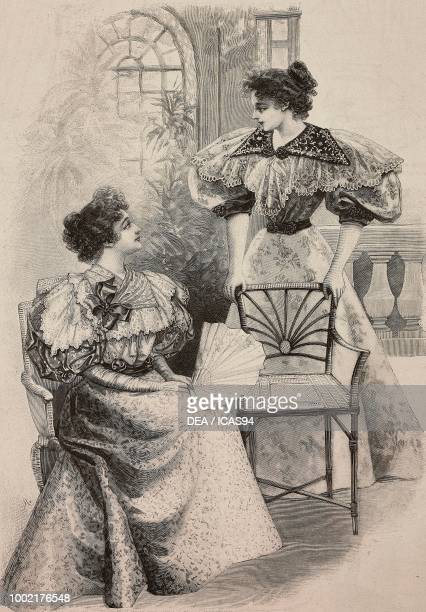 Women wearing a taffeta chine dress and a flowerprinted taffeta dress creations by PiretCoussinet engraving from La Mode Illustree n 31 August 4 Paris