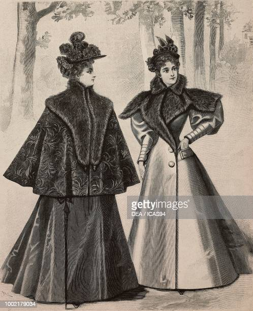 Women wearing a velours chine telma with a furcollar and a drap redingote with furcollar creations by PiretCoussinet engraving from La Mode Illustree...