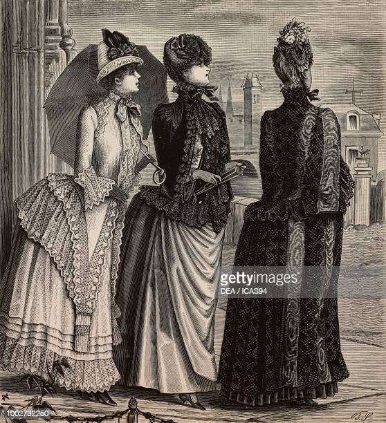 Women wearing a voile and woolen lace dress a cape a cape with embroidery designs by Madame Coussinet engraving from La Mode Illustree No 28 July 12...