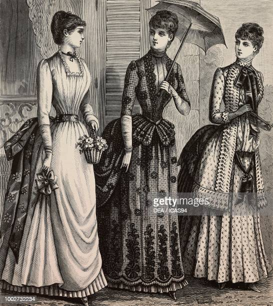 Women wearing a voile dress a silk and woolen lace dress a printed batiste dress designs by Madame Delaunay engraving from La Mode Illustree No 27...