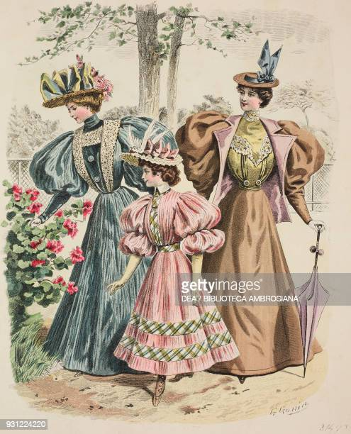 Women wearing blue and ocher day dresses with puffedsleeves hats with bows and umbrella little girl wearing a pink dress with puffedsleeves and hat...