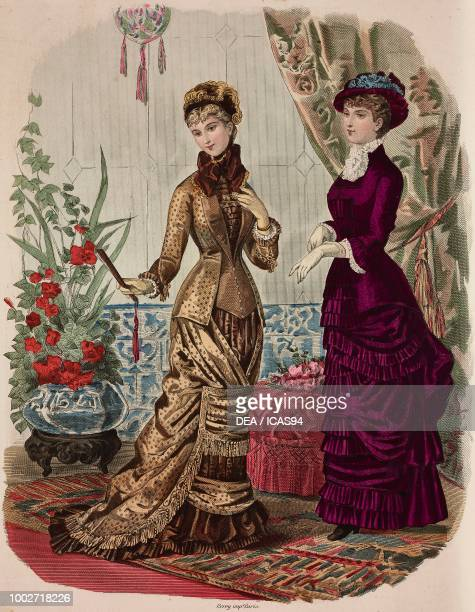 Women wearing bronze dress and purple dress Madame Fladry and Madame Coussinette designs engraving from La Mode Illustree No 38 September 19 1880