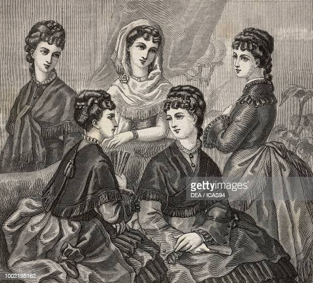Women wearing crepe de chine scarves engraving from La Mode Illustree No 1 January 4 1874