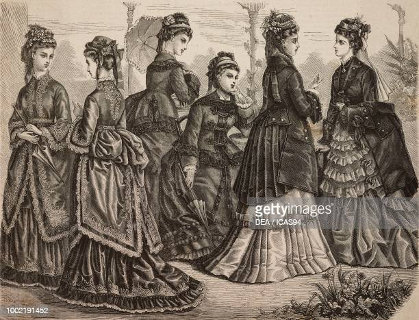 Women wearing day and walking tussor foulard and faye dresses with matching hat and umbrella Madame Fladry designs France engraving from La Mode...