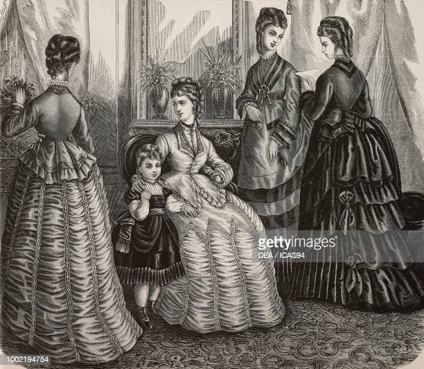 Women wearing day dresses with pleated skirts or pleated skirts with flounces Madame Maury designs France engraving from La Mode Illustree No 48...
