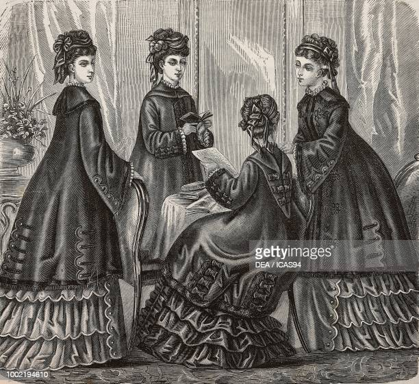 Women wearing drap winter coats Madame Maury designs France engraving from La Mode Illustree No 46 November 16 1873