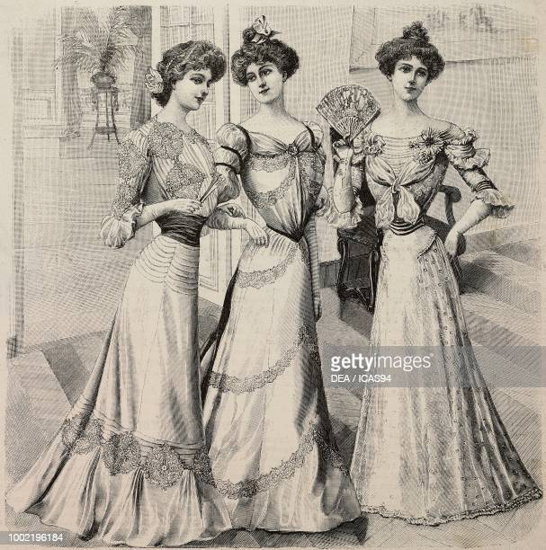 Women wearing evening dresses in crepe de Chine in silk muslin with floral decorations models by Mademoiselle Louise Piret engraving from La Mode...