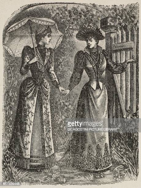 Women wearing long dresses and one holding a sun umbrella illustration from Il Secolo Illustrato della Domenica Year II No 49 September 7 1890