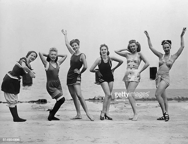 Women Wearing Progression of Swimsuit Styles on Beach